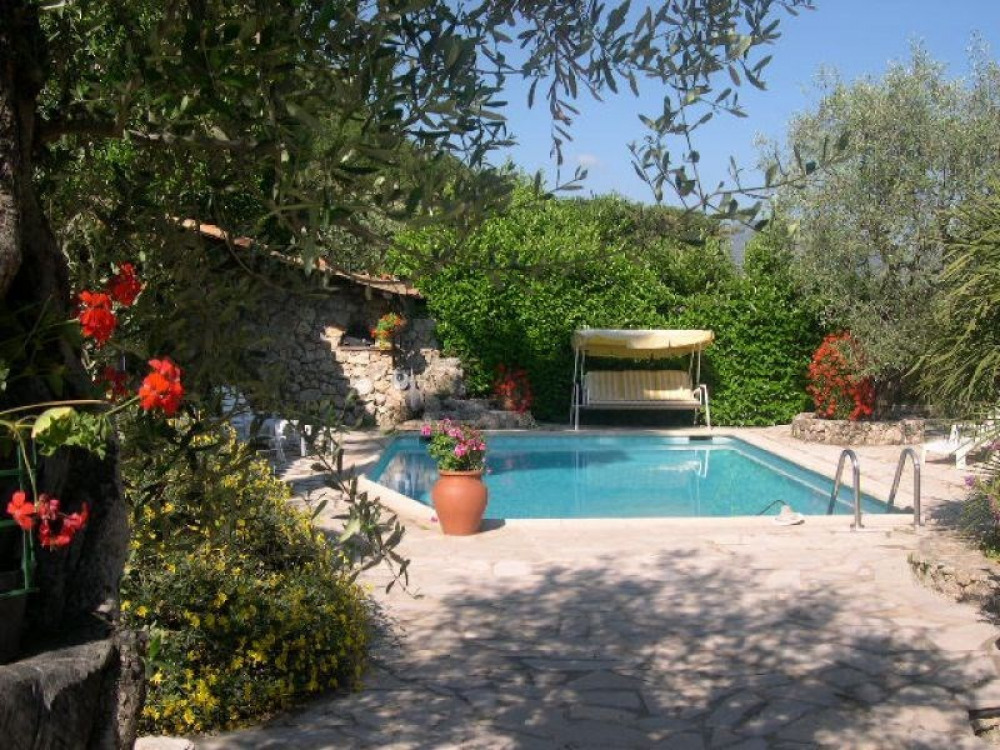 The exotic heated pool and terrace