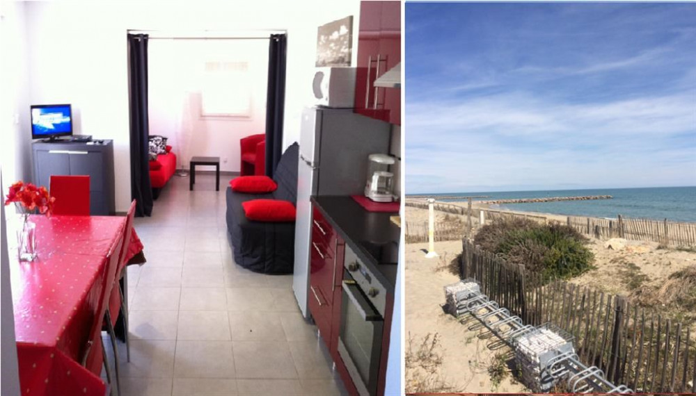 Salon + vue de la plage à 10 mètres de l'apparteme