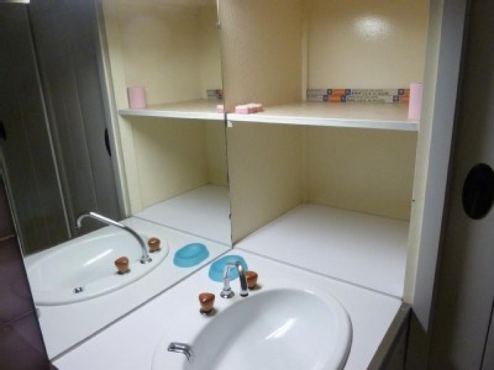 lavabo et étagères salle de bains