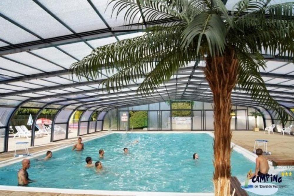 Camping L'Étang du Pays Blanc - Mobilhome CONFORT (3 chambres) avec terrasse couverte (TV, Barbec...
