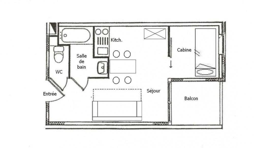 Studio cabine 4 personnes (1510)