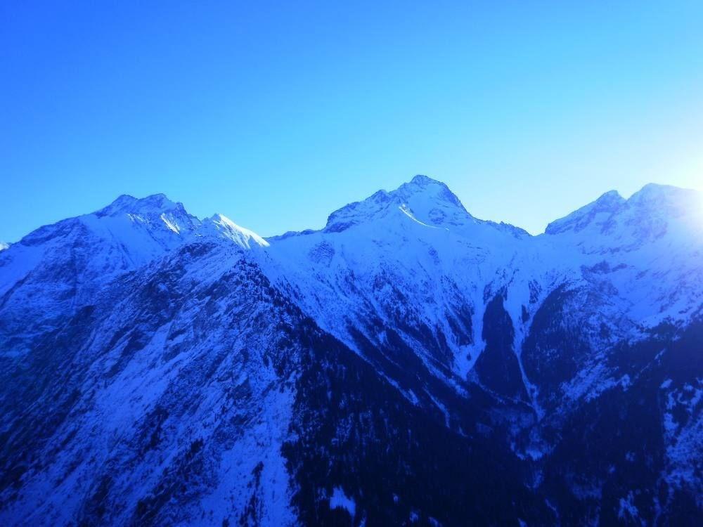 Le glacier de la Muzelle vue depuis le balcon sud au coucher du soleil