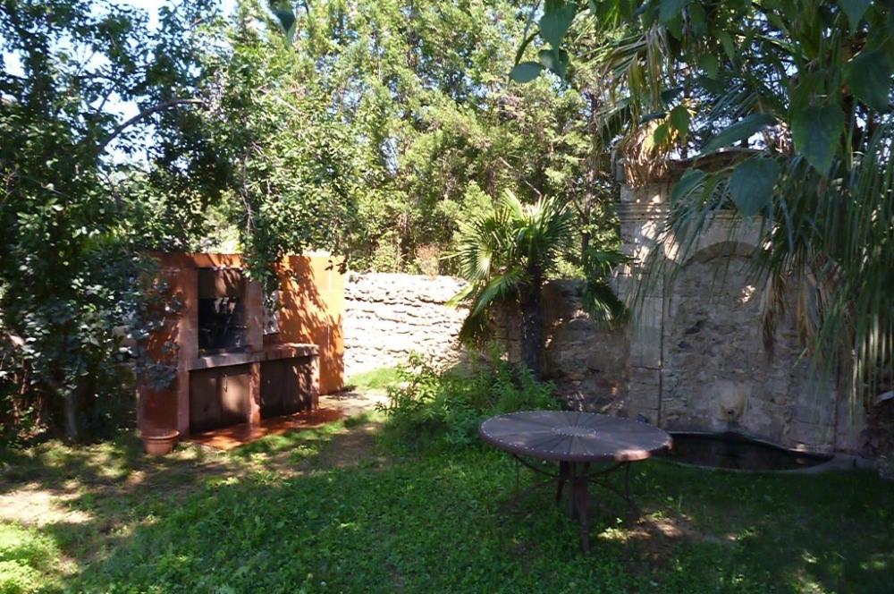 le jardin et sa fontaine aux poissons, son barbecue et sa table sous les palm...