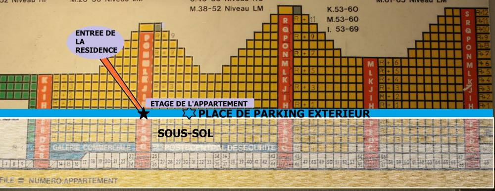 emplacement de l'appartement et du parking