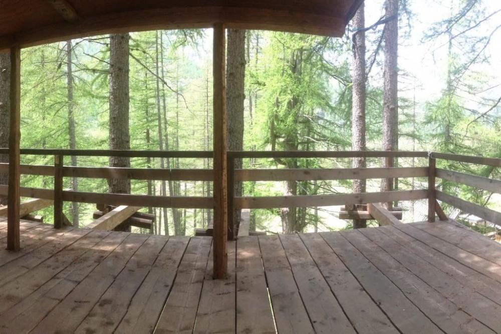 terrasse suspendue dans les arbres