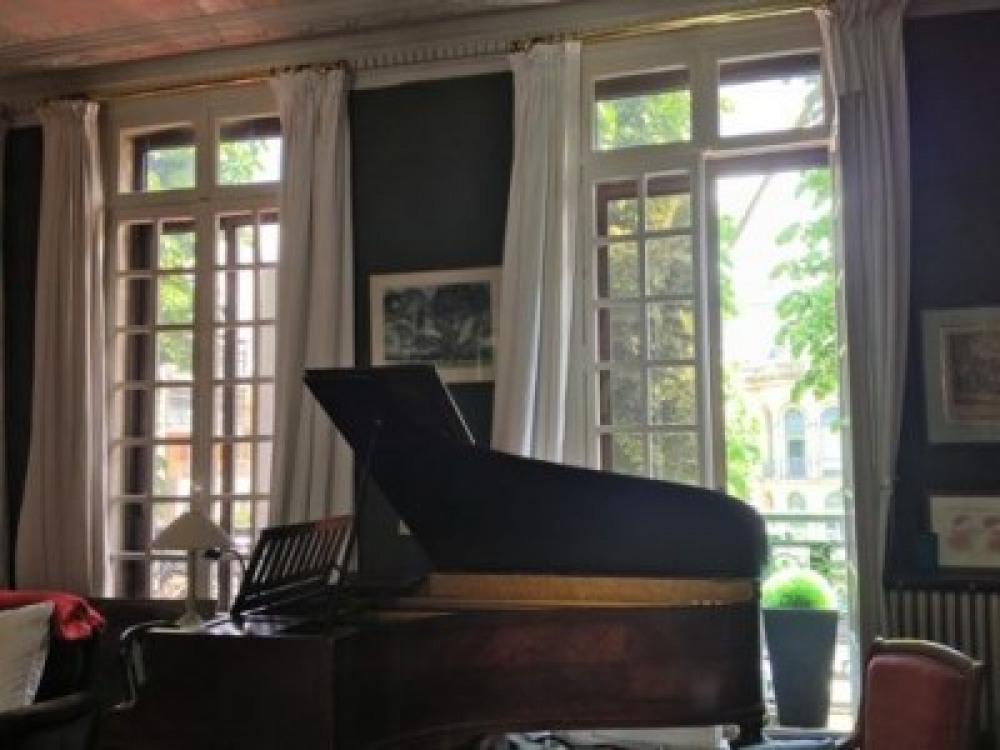 le salon , piano , cheminée .