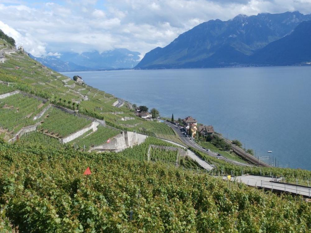 La rive suisse. Le lac Léman. La rive française avec le vallon de Novel à droite