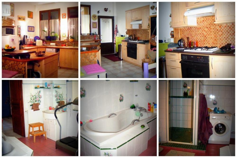 cuisine ouverte et grande salle de bains