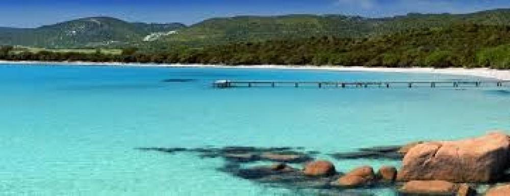 La baie de santa guilia en bas de la villa... Paradis des enfants..
