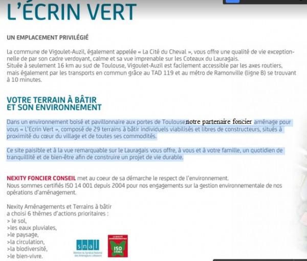 Vente Terrain Vigoulet-Auzil