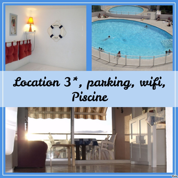 Location 3* tout confort, Piscine, Parking, Mer à 300m, Wifi, sans vis à vis, au calme
