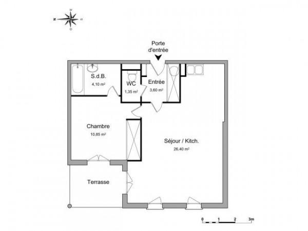 Sept colines 2 pièces 46.3 m² - Nîmes (30900)-1