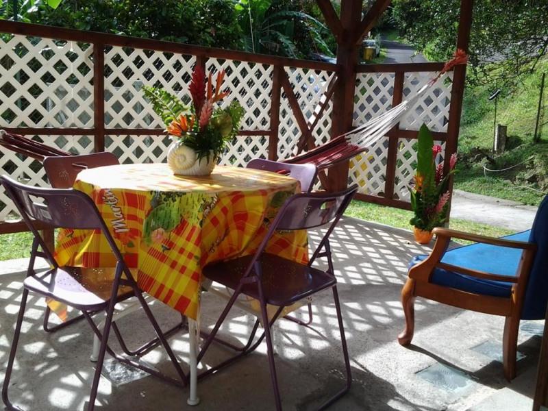Terrasse avec salon de jardin et hamac