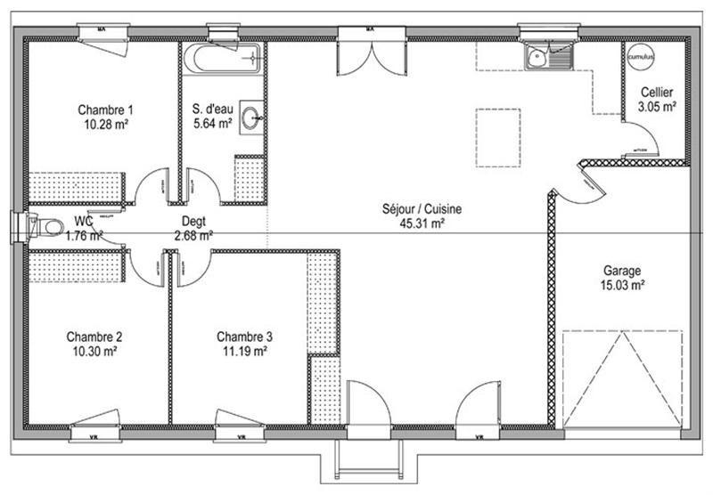 Maison  2 pièces + Terrain 369 m² Saint André de Cubzac (33240) par IMMO CONSTRUCTION - AGENCE DE SAINT ANDRE DE CUBZAC
