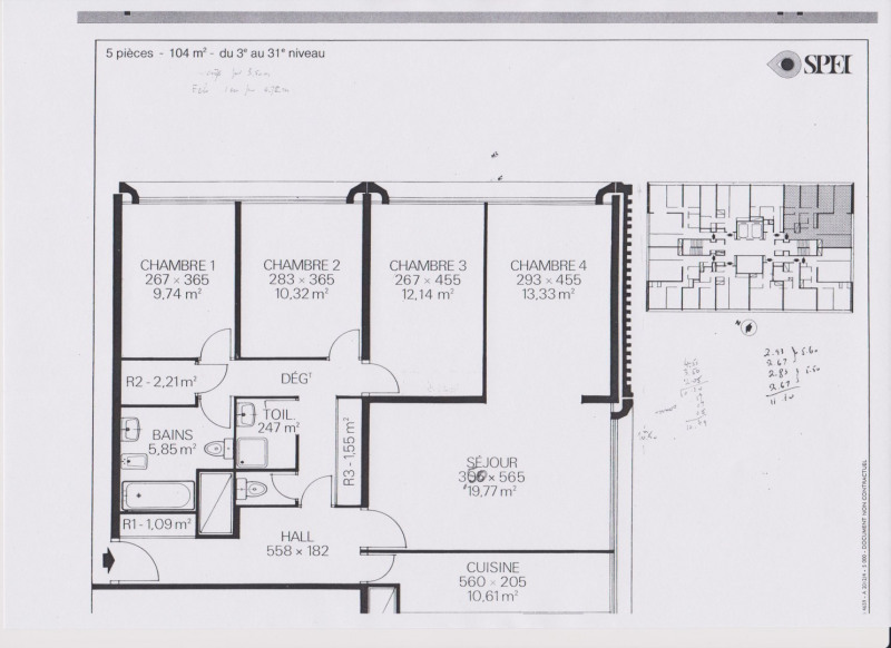 plan appartement 5 chambres