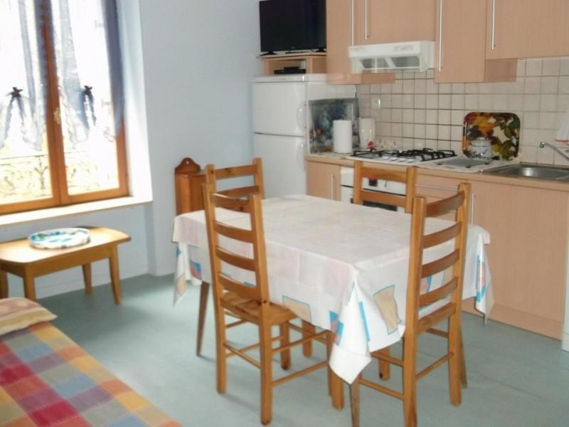 séjour cuisine, cuisine équipée, canapé et fauteuil.
