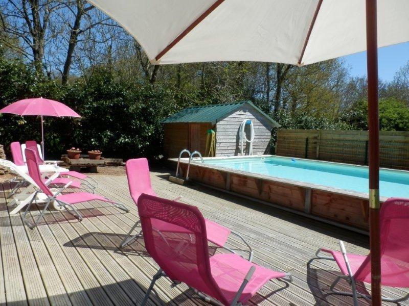 la piscine à partager et sa terrasse plein sud