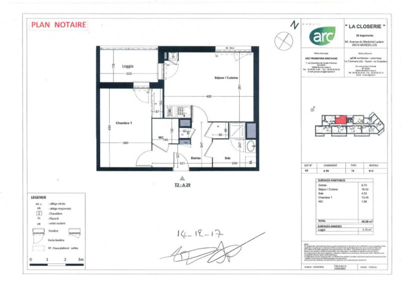 plan appartement legende