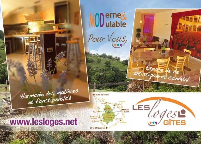 """Gîte """"les loges"""" au cœur des monts du Lyonnais / à proximité de Lyon & St Etienne / de 1 à 20 personnes."""