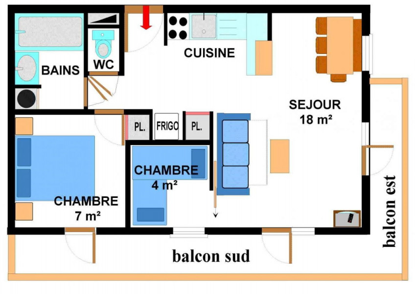 Appartement 2 pièces coin montagne 6 personnes (006)