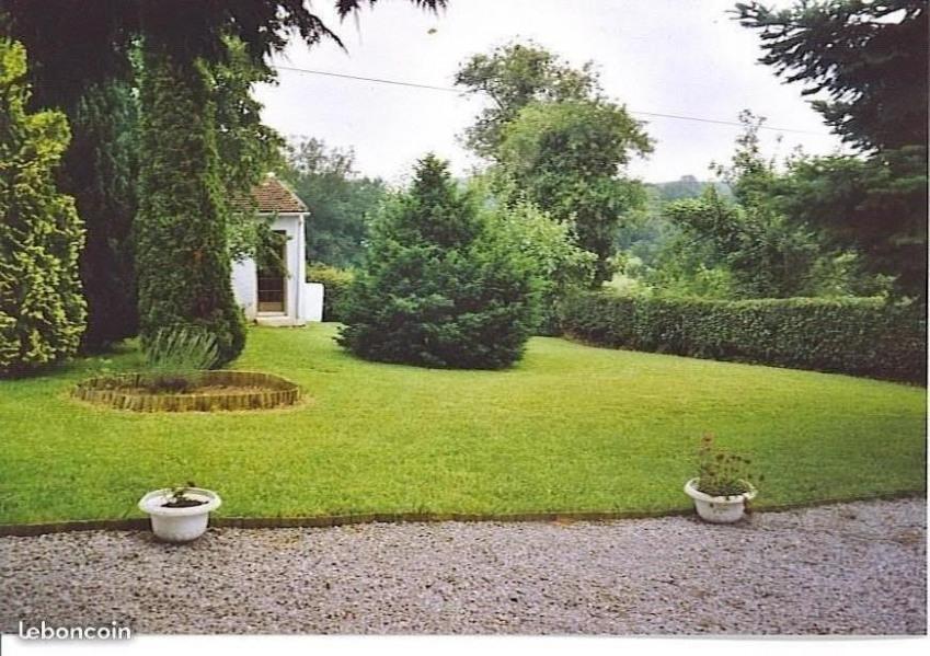 Cour clôturée avec pelouse et garage