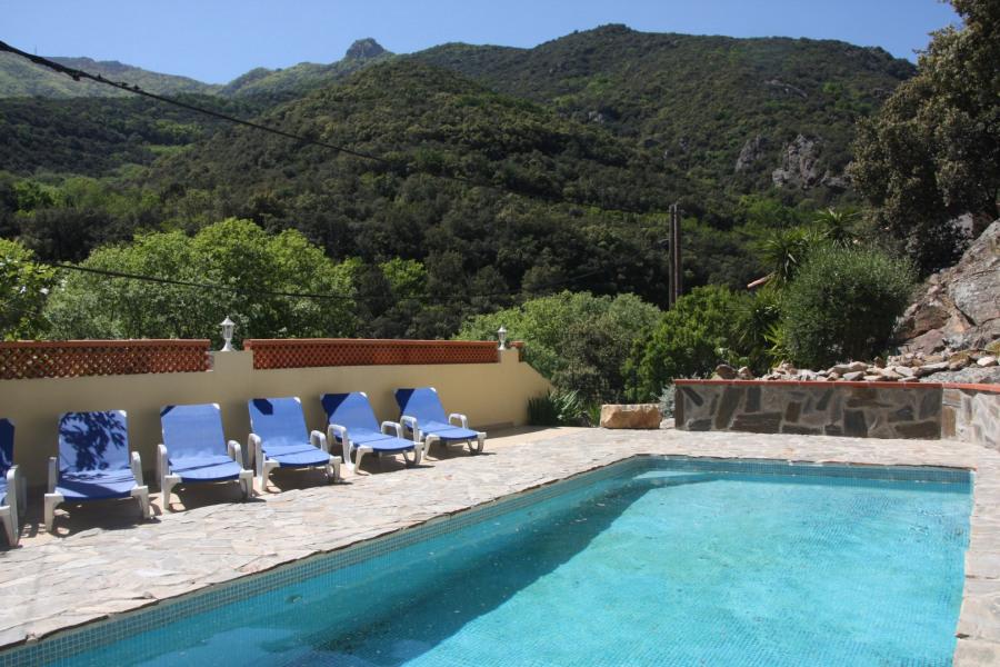piscine privée avec transats et vue montagnes